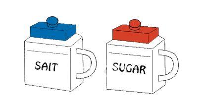 砂糖の容器と塩の容器